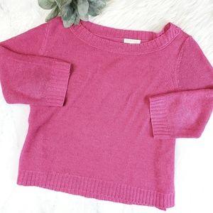Eileen Fisher Hot Pink Open Knit Linen Sweater